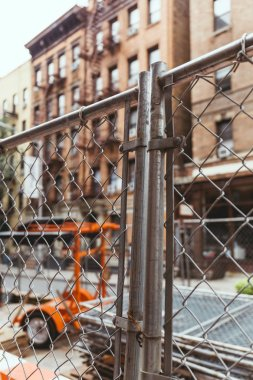 selective focus of net and new york city street, usa