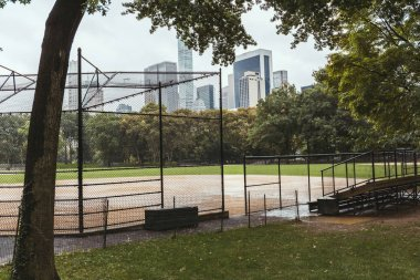 scenic view of playground and buildings on background, new york, usa