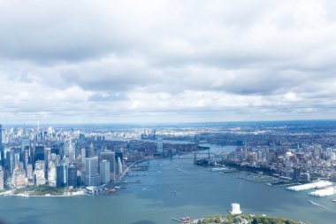 aerial view of atlantic ocean and new york city, usa