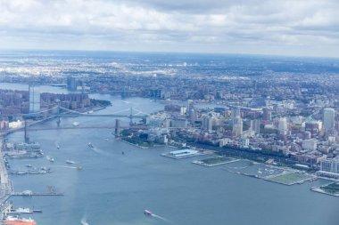 aerial view of manhattan and brooklyn bridge in new york, usa