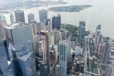 aerial view of new york city skyscrapers, usa