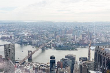 aerial view of manhattan and brooklyn bridge in new york, usa