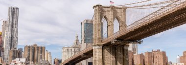 panoramic view of brooklyn bridge and manhattan in new york, usa