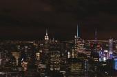New York, Amerikai Egyesült Államok - 2018. október 8.: légi felvétel a new york city éjszakai, Amerikai Egyesült Államok