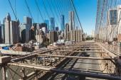 MANHATTAN, NEW YORK, USA - OCTOBER 8, 2018: urban scene with manhattan and brooklyn bridge in new york, usa