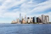 MANHATTAN, NEW YORK, USA - OCTOBER 8, 2018: beautiful view of manhattan and atlantic ocean, new york, usa