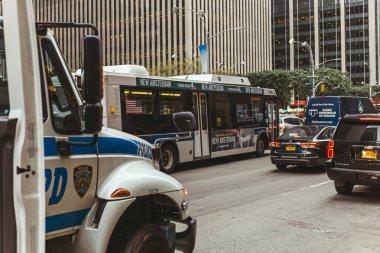 NEW YORK, USA - OCTOBER 8, 2018: urban scene with cars on new york city street, usa stock vector