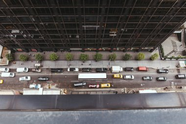 NEW YORK, USA - OCTOBER 8, 2018: view from above over vehicles on new york street, usa