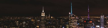 NEW YORK, USA - OCTOBER 8, 2018: panoramic view of new york city at night, usa
