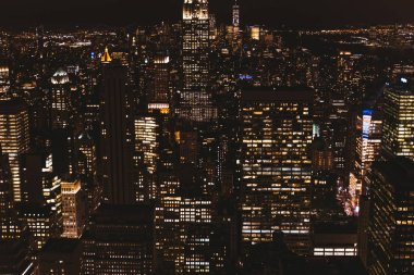 NEW YORK, USA - OCTOBER 8, 2018: aerial view of new york city at night, usa