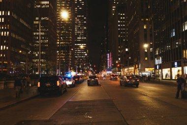 NEW YORK, USA - OCTOBER 8, 2018: urban scene with new york city street at night, usa stock vector