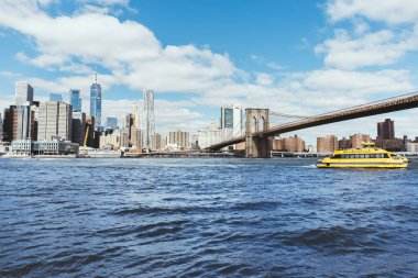 MANHATTAN, NEW YORK, USA - OCTOBER 8, 2018: beautiful view of manhattan and brooklyn bridge in new york, usa