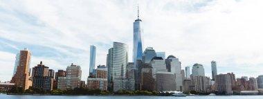 MANHATTAN, NEW YORK, USA - OCTOBER 8, 2018: beautiful panoramic view of manhattan and atlantic ocean, new york, usa