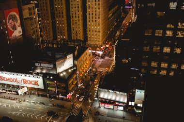 NEW YORK, USA - OCTOBER 8, 2018: high angle view of new york city street at night, usa