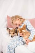 Fotografie entzückenden Kind sitzt auf dem Bett mit Pembroke Welsh Corgi Hunde zu Hause