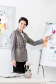 Fotografia donna di affari attraente sorridente in vestito grigio che indica sulla lavagna a fogli mobili durante la presentazione del progetto in ufficio
