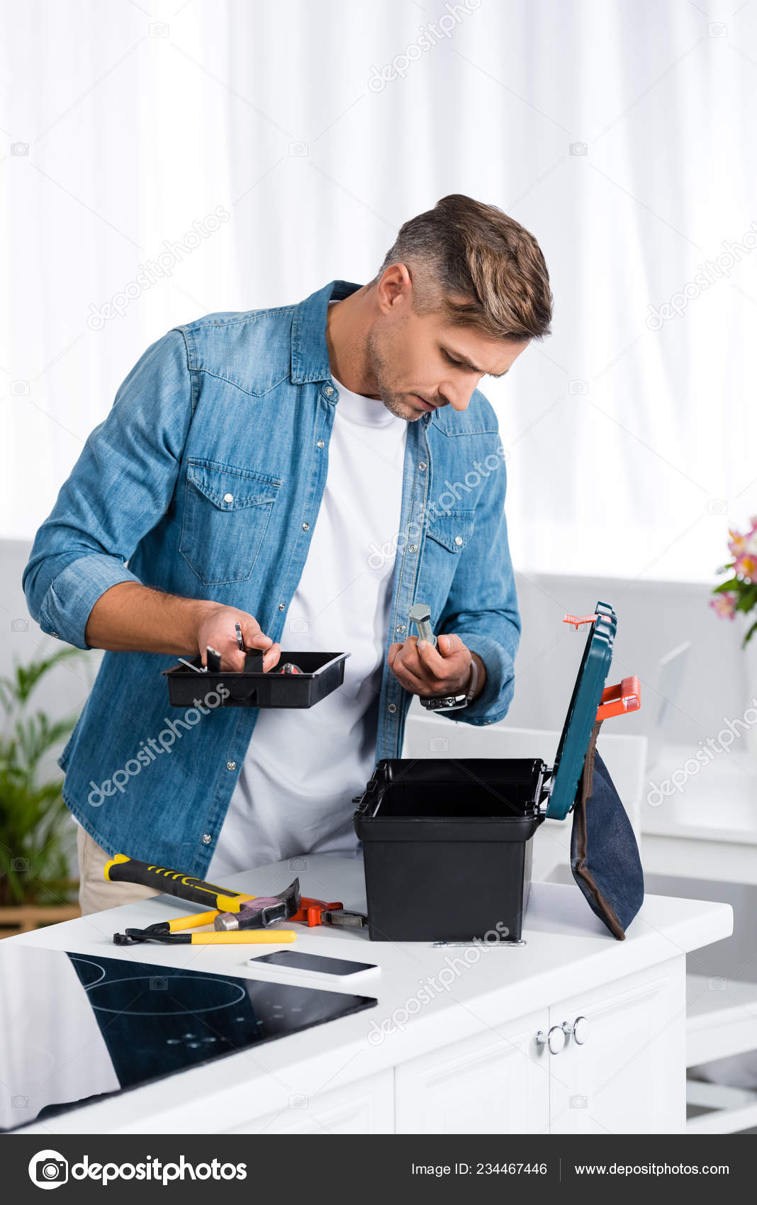 Handsome Man Looking Tool Box While Standing Kitchen — Stock ...