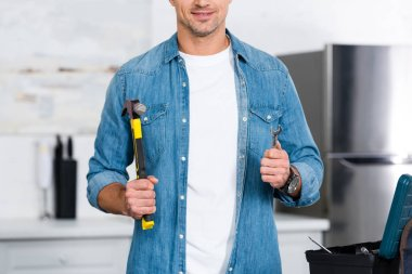 cropped view of smiling man holding hammer and wrench in hands