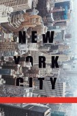 aerial view of architecture with new york city lettering and red line, new york, usa