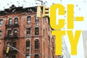 urban scene with birds flying over buildings in new york city with yellow city lettering, usa