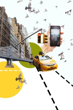 Cropped shot fo man with smartphone taking picture of new york city with birds, taxi and circles illustration stock vector