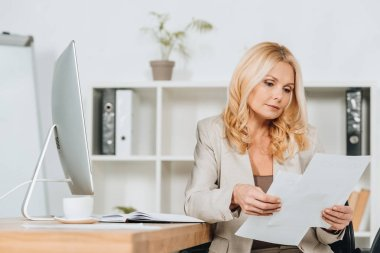 focused mature businesswoman sitting and working with papers in office