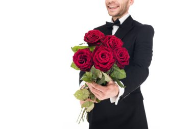 Cropped view of happy man gifting red roses for valentines day, isolated on white stock vector