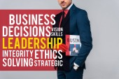 cropped image of businessman holding newspaper isolated on grey with leadership lettering