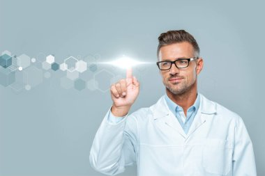 Handsome scientist in white coat and glasses touching technology interface in air isolated on grey, artificial intelligence concept stock vector
