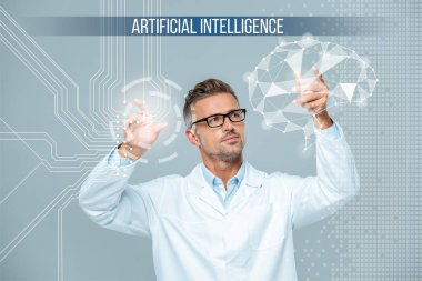 Handsome scientist in white coat and glasses moving brain interface, artificial intelligence concept stock vector