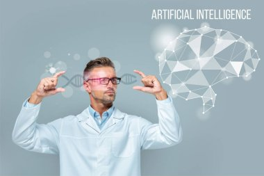 Handsome scientist in glasses holding medical interface with dna and brain isolated on grey, artificial intelligence concept stock vector