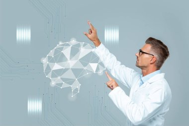 Side view of handsome scientist in glasses moving brain interface isolated on grey, artificial intelligence concept stock vector