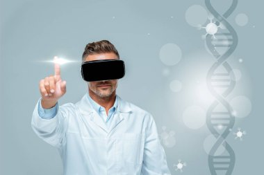 scientist in virtual reality headset touching medical interface with dna isolated on grey, artificial intelligence concept