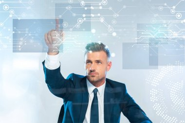 handsome businessman pointing on innovation technology isolated on white, artificial intelligence concept