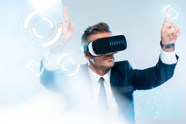 businessman in virtual reality headset touching  innovation technology isolated on white, artificial intelligence concept