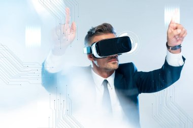 Businessman in virtual reality headset touching innovation technology isolated on white, artificial intelligence concept stock vector