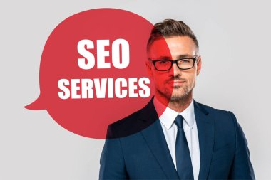 Portrait of handsome businessman in suit and glasses looking at camera isolated on grey with seo services stock vector