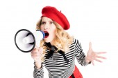Photo angry woman in red beret yelling in megaphone isolated on white