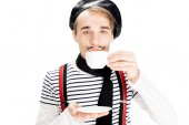 szép párizsi ember iszik kávé elszigetelt fehér