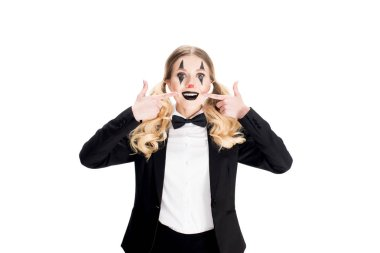 cheerful female clown in suit smiling isolated on white