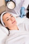 Kosmetikerin trägt im Schönheitssalon Kosmetikmaske auf Frauenwange mit Kosmetikpinsel auf