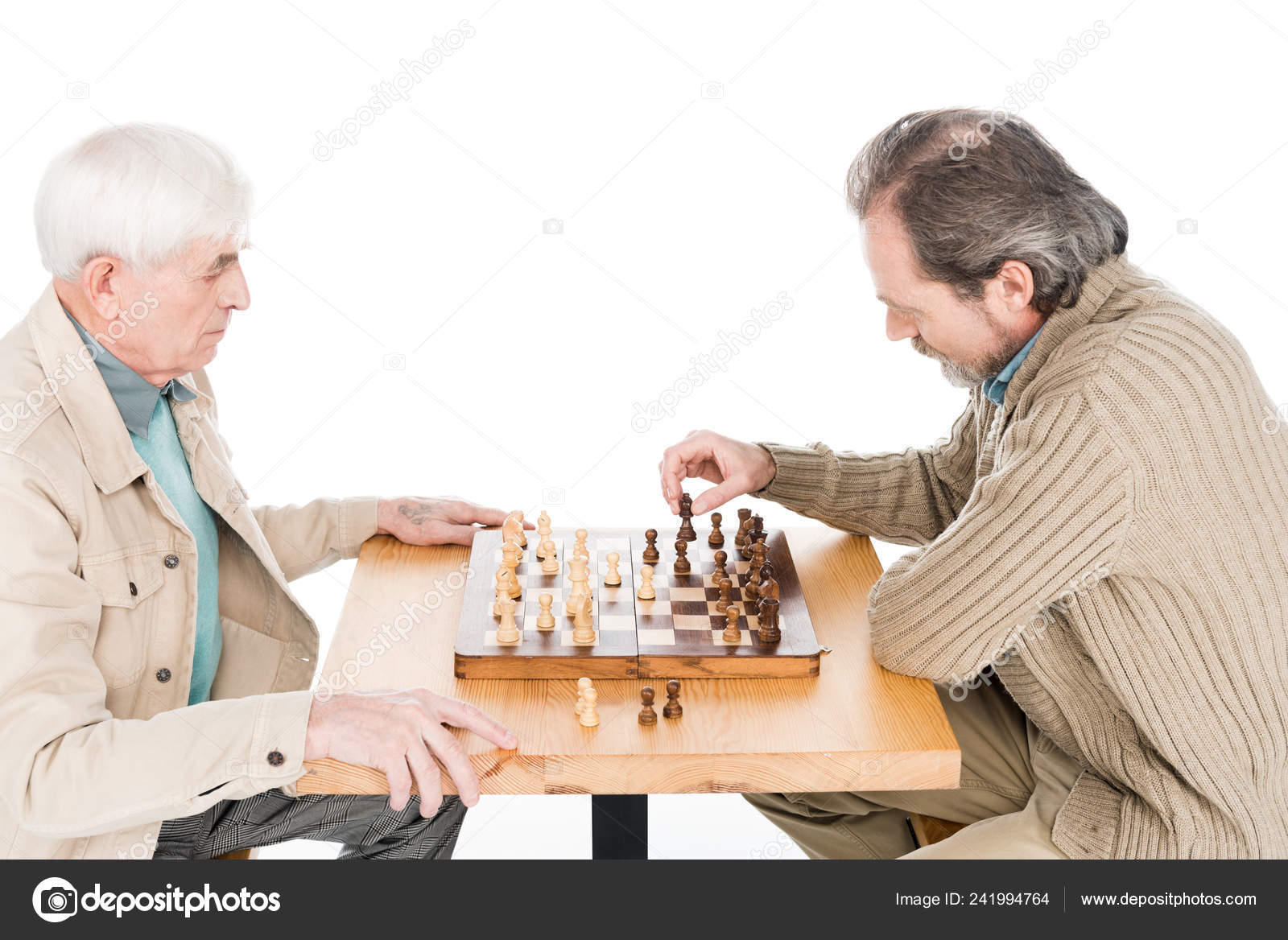 Retired Friends Playing Chess Isolated White — Stock Photo