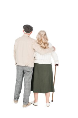 back view of senior couple standing isolated on white