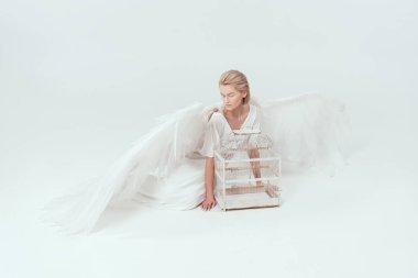 Beautiful tender woman in angel costume with wings posing with bird cage isolated on white stock vector