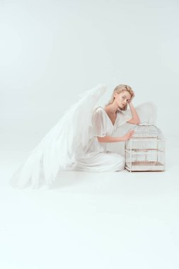Beautiful woman in angel costume with wings looking at camera and posing with bird cage isolated on white stock vector