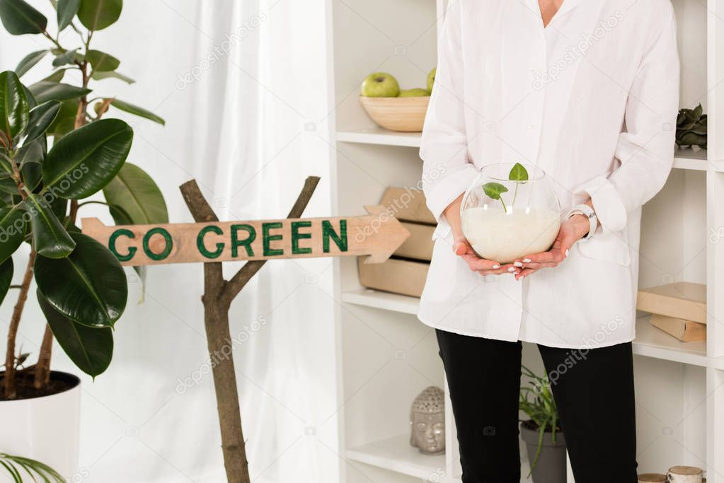 Cropped view of woman holding glass fish bowl with sand and green leaves near go green sign in office, environmental saving concept