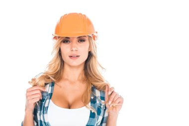 Blonde handy woman in blue shirt and orange hardhat isolated on white stock vector