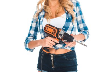 Cropped view of handy woman in blue shirt and shorts with screwdriver isolated on white stock vector