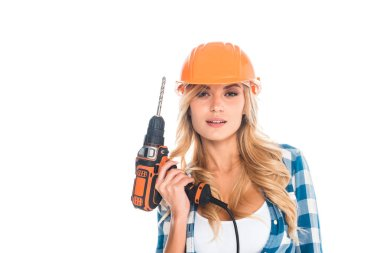 Handy woman in blue shirt with screwdriver isolated on white stock vector