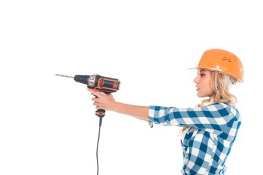 Blonde handy woman in blue shirt and orange hardhat holding screwdriver isolated on white stock vector